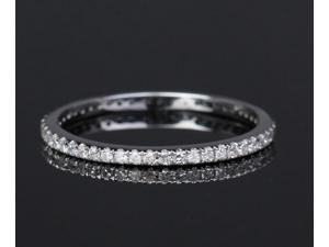 FASHION Solid 14K White Gold -Pave Diamond Engagement Wedding Eternity Band Ring