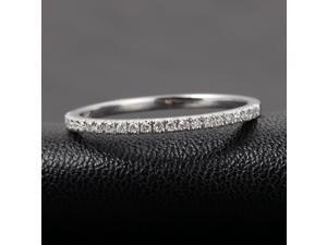 Half Eternity Band French V Micro Pave H/SI Diamonds 14K White Gold Wedding Ring