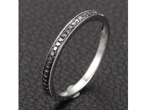 MILGRAIN Pave Black Diamond Solid 14K White Gold HALF Eternity Band Wedding Ring