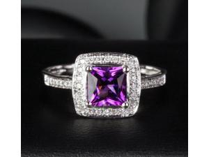 6mm Princess Cut Amethyst Solid 14k White Gold Diamond Engagement Promise Ring