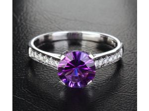 7.3mm Dark Purple Amethyst H SI Diamonds 14k White Gold Engagement Promise Ring