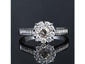 3CT DIAMETER 14K White Gold DIAMOND Solitaire Halo Engagement Wedding Rings SALE