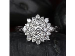 Natural Cluster Flower .88ctw Diamonds 14kt White Gold Engagement Wedding Ring