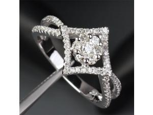 Unique .59ct Diamonds Solitaire/Side Real 14k White Gold Engagement Wedding Ring
