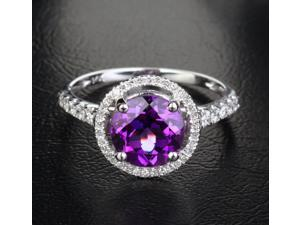 8mm VS AMETHYST .36CT DIAMOND 14K WHITE GOLD PAVE ENGAGEMENT/PROMISE HALO RING