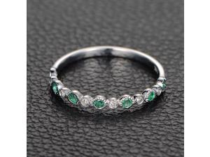Natural Emerald Wedding Anniversary Eternity Ring with Diamonds,14K White Gold