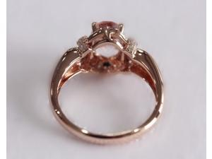 Oval Cut 6x8mm VS Morganite Diamonds Claw Prongs 14K Rose Gold Engagement Ring