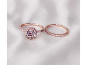 Discount!! Two-Ring Set! Round Cut 7mm VS Halo 14K Rose Gold Morganite Ring SI/H Diamonds Wedding Band /Engagement Ring/ Promise Ring