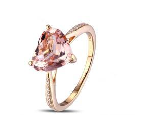 8mm Heart Shaped Morganite Diamonds 14K Rose Gold Claw Prongs Engagement Ring