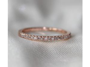 Two-Ring Set! Round Cut 7mm VS Halo 14K Rose Gold Morganite Ring SI/H Diamonds Wedding Band /Engagement Ring/ Promise Ring