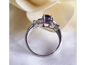 6x8mm VS Dark Amethyst .35ct Diamond Real 14k White Gold Bowknot Engagement Ring