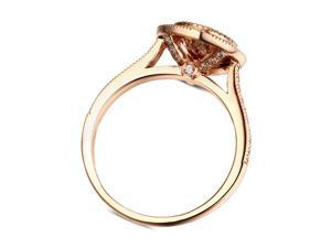 Fancy Pink Morganite 14K Rose Gold Wedding Ring