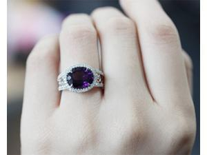 9x11mm Dark Purple Amethyst Ring Solid 14k White/ Yellow/ Rose Gold & Diamonds Engagement Ring/ Wedding Ring/ Promise Ring/ Anniversary Ring