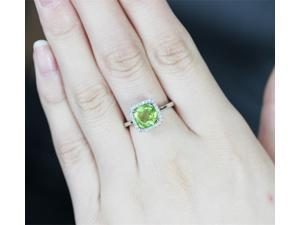 Halo Cushion Peridot Ring with Halo Diamond in 14K White Gold Engagement Wedding Gift/Anniversay Gift