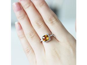 Halo Cushion Cut 8mm Citrine Ring 10k White Gold H/SI Diamonds Engagement Ring/ Wedding Ring/ Promise Ring/ Anniversary Ring