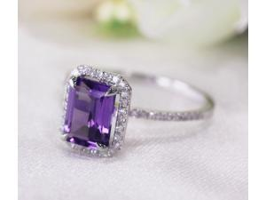 6x8mm Emerald Cut Amethyst 14kt White Gold Pave .29ct Diamonds Engagement Ring