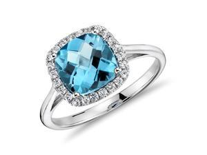 Swiss Blue Topaz and Diamonds Halo Cushion Ring in 14K White Gold Engagement Ring