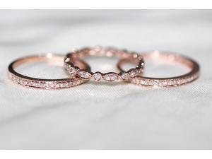 3 RING-SET!!! Rose Gold Ring Rose Gold Wedding Ring Diamond Ring Diamond wedding band Diamond engagement ring Half eternity Full eternty