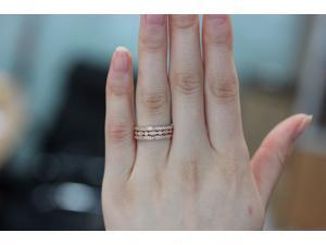 3 RING-SET!!! Rose Gold Ring Rose Gold Wedding Ring Diamond Ring Diamond wedding band Diamond engagement ring Half eternity Full eternty