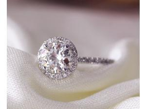 6.5mm Halo Moissanite Ring/14K White Gold Anniversary /Engagement/ Wedding Ring