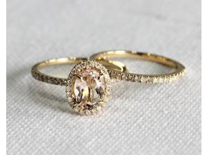 Oval Morganite in N-S direction Diamonds 14K Yellow Gold Engagement Wedding Ring