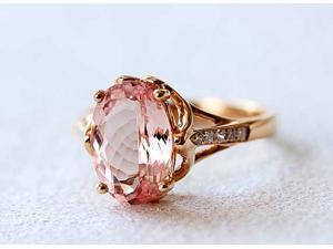 7x9mm VS Pink Morganite Ring 14K Rose Gold Pave 0.07ctw Diamond Ring/ Engagement Ring/ Wedding Ring/ Promise Ring/ Unique Ring