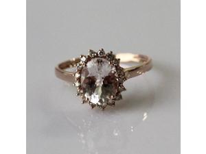 Oval Cut 7x9mm VS Pink Morganite Ring Natural Diamonds Ring Engagement Ring Women Wedding Ring - Solid 14K Rose Gold Morganite Ring