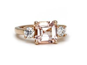 Asscher Morganite Engagement Ring 14K Morganite Ring 3 Stone Asher Conflict Free Diamond Custom Wedding Ring