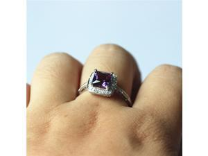 7mm Princess Cut Amethyst Ring Solid 14k White/ Yellow/ Rose Gold & Diamonds Engagement Ring/ Wedding Ring/ Promise Ring/ Anniversary Ring