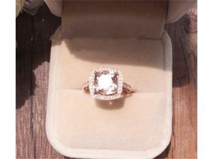 Morganite and Diamonds Halo Cushion Ring in 14K White Gold Engagement Ring