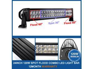 Lumsing - 24 inch 120W Led Light Bar Flood Spot Combo Work Lights 4WD UTE Offroad Car Boat