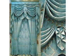 Luxury crystal curtain Gold quality thickening fashion blue jacquard window finished curtain cloth customize drapes and curtains Hang by Hook