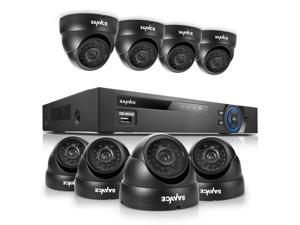 SANNCE 8CH H.264 960H Surveillance DVR System with 8 Weatherproof 800TVL High Resolution Security Camera Smartphone Scan ...