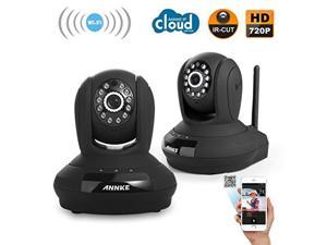 ANNKE 2 Pack 1280 x 720P HD Wireless Network IP Camera Easy Setup Home Remote Monitoring System(Plug & Play, QR Code Scan, iPhone & Android Mobile View, Two-ways Audio Talk, Build-in Mic & Speaker)