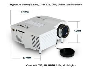 LED Projector Home Theater with HDMI/VGA/USB/SD Card Port for laptop, DVD, Phone, Game Console
