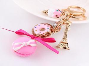 Macarons cake keyring fashion France LADUREE Effiel Tower keychain Valentine's Day wedding birthday gifts