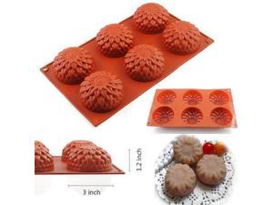6-Cavity Food Grade Silicone Mold, iClover Vermilion Flower Cake Mold Pudding Mold and Muffin Cups and Bakeware Baking Pan