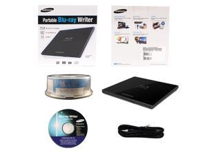 Samsung SE-506CB/RSBD 6X M-Disc Blu-ray CD DVD Slim Portable External Burner Writer Drive + FREE 15pk Mdisc BD + Installation Disc + USB Cable