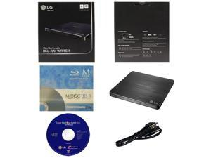 LG WP50NB40 6X Ultra Slim Portable Blu-ray BD CD DVD External Burner Writer Drive in Retail Box +FREE 3pk Mdisc BD + Cyberlink Software +USB Cable