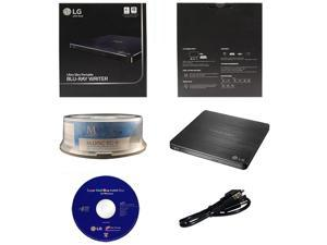 LG WP50NB40 6X Ultra Slim Portable Blu-ray BD CD DVD External Burner Writer Drive in Retail Box +FREE 15pk Mdisc BD + Cyberlink Software +USB Cable