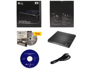 LG WP50NB40 6X Ultra Slim Portable Blu-ray BD CD DVD External Burner Writer Drive in Retail Box +FREE 1pk Mdisc DVD + Cyberlink Software +USB Cable