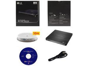 LG WP50NB40 6X Ultra Slim Portable Blu-ray BD CD DVD External Burner Writer Drive in Retail Box +FREE 10pk Mdisc DVD + Cyberlink Software +USB Cable