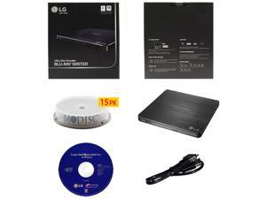 LG WP50NB40 6X Ultra Slim Portable Blu-ray BD CD DVD External Burner Writer Drive in Retail Box +FREE 15pk Mdisc DVD + Cyberlink Software +USB Cable