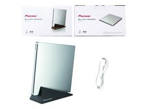Pioneer 6X Super Slim Slot Portable USB 3.0/2.0 BD DVD CD Burner Support BDXL External Blu-Ray Writer in Retail Box + Stand + USB Cable (BDR-XU03)