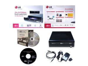 LG GE24NU40 24X Super Multi DVD CD External Burner Writer in Retail Box + FREE 1pk Mdisc + Installation Disc + USB Cable + AC Power Adapter (Black)