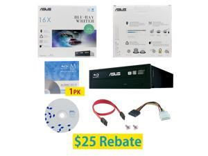 ASUS BW-16D1HT 16X M-Disc Blu-ray BDXL CD DVD Internal Burner Writer Drive + FREE 1pk Mdisc BD + BD Suite Disc + Cables & Mounting Screws
