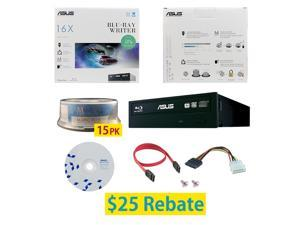 ASUS BW-16D1HT 16X M-Disc Blu-ray BDXL CD DVD Internal Burner Writer Drive + FREE 15pk Mdisc BD + BD Suite Disc + Cables & Mounting Screws