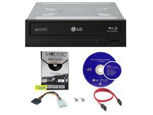 LG WH14NS40 14X M-Disc Blu-ray BDXL CD DVD Internal Burner Writer Drive + Cyberlink Software + FREE 10pk Mdisc DVD + Cables & Mounting Screws