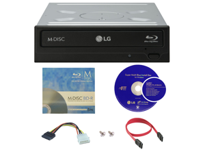 LG WH14NS40 14X M-Disc Blu-ray BDXL CD DVD Internal Burner Writer Drive + Cyberlink Software + FREE 3pk Mdisc BD + Cables & Mounting Screws