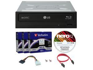 LG WH16NS40 16X M-Disc Blu-ray BDXL CD DVD Internal Burner Writer Drive + FREE 15pk Mdisc BD + Nero Software Disc + Cables & Mounting Screws